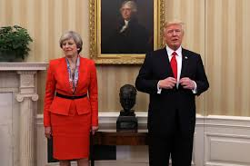 trump meets with british prime minister theresa may here u0026 now