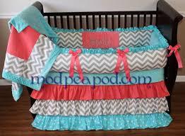 sadie coral u0026 tiffany baby crib bedding set with chevron and