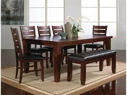 Dining Room Bench Rectangle Brown Wooden Dining Room Table Added By Black