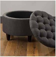 round storage ottoman grey footstool pouf seat bedroom living room