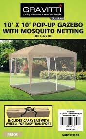 gazebo mosquito netting gravitti outdoor 10 x 10 pop up gazebo with mosquito netting