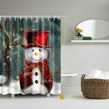 Snowman Curtains Kitchen Gray L Snowman Printed Fabric Waterproof Shower Curtain Rosegal Com