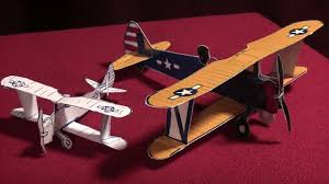 3d paper model airplanes print outs free scale paper biplane ww ii stearman model 75 youtube