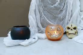halloween tea towels diy halloween jack o lantern and cauldron candle holders