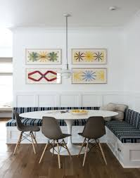 built in kitchen seating the breakfast nook has been updated the