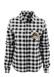 missouri tigers womens buffalo plaid long sleeve black dress shirt