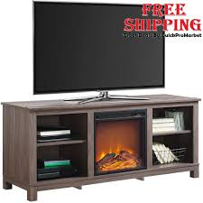 electric fireplace tv stand wood media console heater