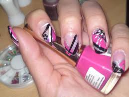 pink and black nail designs pccala