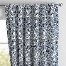 Blue Paisley Curtains And White Paisley Damask Drape