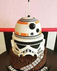 amazing wars tiered cake for chewbacca bb8 and stormtropper