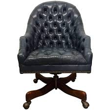 Leather Rolling Chair by Schafer Bros Tufted Leather Chair At 1stdibs