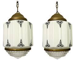 Geometric Pendant Light by Pair American Art Deco Milkglass Geometric Pendant Lights Modernism