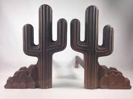 vintage black cast iron southwestern cactus fireplace andirons