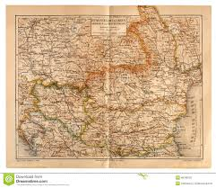 Map Of Serbia Old Map Of Romania Bulgaria Serbia And Montenegro Editorial
