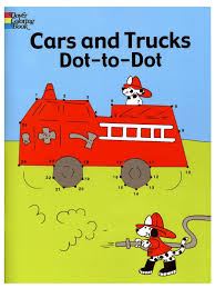 free coloring page cars and trucks dot to dot coloring book