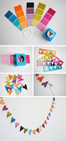 use paint color strips and cut out stamps to make your own fun