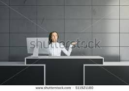 Grey Reception Desk Handsome Businessman Reception Desk Placed Modern Stock