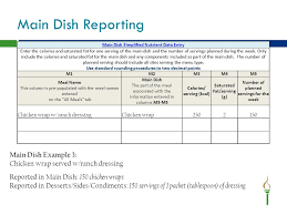Example Of Main Dish Menu - nutrient analysis vs simplified nutrient assessment ppt download