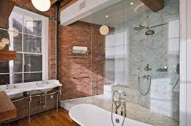 floor decor and more simple brick in bathroom make bathroom decor more attractive