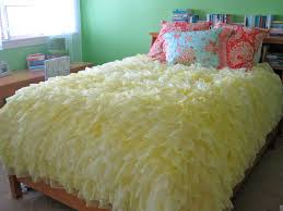 ruffled duvet cover with scissors and a spatula