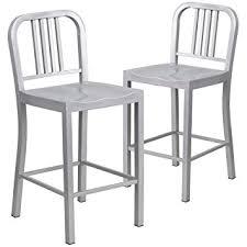 amazon com flash furniture 2 pk 24 u0027 u0027 high silver metal indoor
