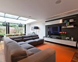 Orange Floor L Orange Carpet With L Shaped Sectional Sofa For Decorative