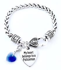 silver bracelet with heart charm images Ladies police lives matter thin blue line heart charm antique jpg