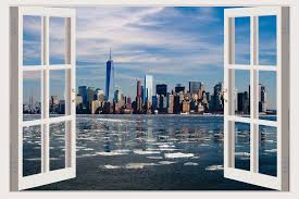 new york skyline 3d window wall decal vinyl stickers home new york skyline 3d window wall decal vinyl stickers home decoration sea w140 what s it worth