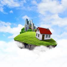 House Planet by A Piece Of Land In The Air With House And Tree U2014 Stock Photo