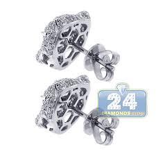 womens stud earrings womens diamond panther cat stud earrings 18k white gold 1 10 ct