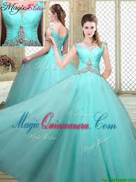 quinceanera dresses with straps cheap straps beading quinceanera dresses in aqua blue magic