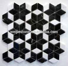black and white marble rhombus mosaic floor tile shaped