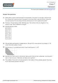 7th Grade Math Printable Worksheets Grade 7 Olympiad Printable Worksheets Practice