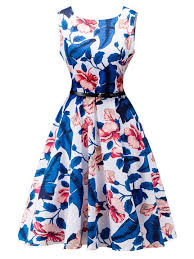 summer dresses vintage hepburn dress blue sleeveless flowers printed swing