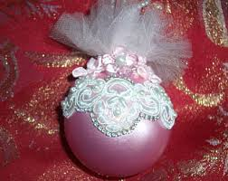 Pink And Pearl Christmas Decorations by Lace And Pearls Etsy