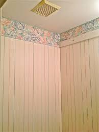 Chair Rail Wallpaper Border - guest bathroom wainscoting over wallpaper