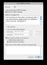 absence bureau outlook gestion du message d absence avec outlook 2011 sur mac epfl