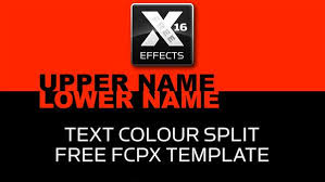 free xeffects text colour split transition plugin for final cut