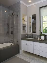 Bathroom With Bronze Fixtures White And Gray Bathroom Tile Walk In Shower And Showers For Small