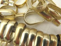 Vintage Curtain Rod Vintage Curtain Rings Gold Tone Aluminum Metal Oval Ring Clips