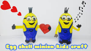 Seashell Craft Ideas For Kids - diy minions craft ll kids craft ll egg shell craft ll minions ll