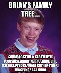 Ptsd Clarinet Boy Meme - brian s family tree scumbag steve karate kyle cousins
