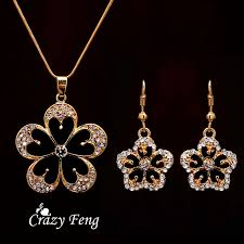 gold pendant necklace set images Free shipping crystal flower pendant necklace earrings trendy jpg
