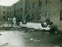 car damaged after tornado curtis apartments june 1953 worcester
