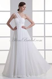 One Shoulder Wedding Dress Allens Bridal Chiffon One Shoulder Empire Line Floor Length Sash