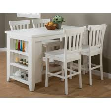 dining room white counter height table with round bar table also