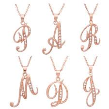 Intial Necklace Sterling Essentials Rose Gold Over Silver Cz Script Initial