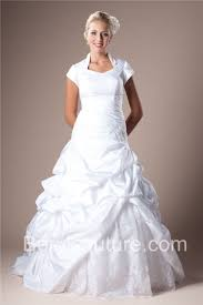 gown queen anne neckline sleeved taffeta lace beaded modest