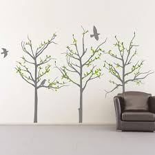 tree and birdcage wall sticker designer transfer grey trees wall sticker