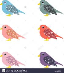 vector set of colorful ornamental birds stock vector